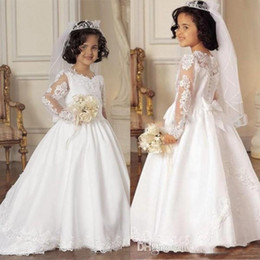 Wholesale Girls Little Bride Dresses - Illusion Long Sleeves Flower Girls Dresses for Wedding 2016 Little Bride Formal Gowns 2017 New Girls Pageant Gowns with Lace Appliques & Bow