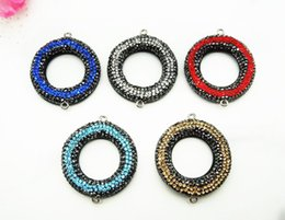 Wholesale Rhinestone Connector Black - 5Pcs Round circle connector beads pave black rhinestone pearl with red blue stone bead jewelry findings