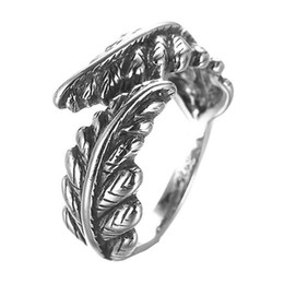 Wholesale Wholesale Gothic Rings - 5pcs lot Gothic Real Pure 925 Sterling Silver Jewelry New Leaves Open Ring Mens Wedding Band Steampunk Accessories