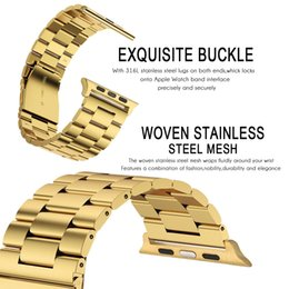 Wholesale Silver Link Connector - Stainless Steel Link Bracelet Band + Connector Adapter For Watch Series 1 2 3 Band 38MM 42MM Metal Strap For Watch
