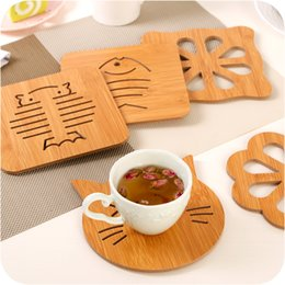 Wholesale Pets Recycling - Creative Holloow-out Insulation Pad Japanese Style Kitchen Wood Eat Placemat with Non-slip Cuahioned Waterproof Anti-scald Simple Mat