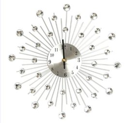 Wholesale High Quality Wall Clocks - Newest High Quality 32.5cm Novelty Diamond Crystal Jeweled Beaded Sunburst Wall Clock living room Silver Wire free shipping