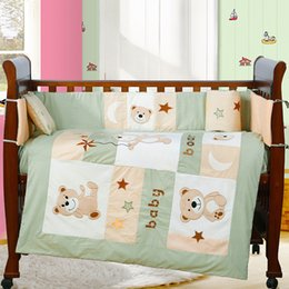 Wholesale Girls Crib Sheets - 4PCS embroidered Infant Baby Bedding Set For Girl Boys Cot Bedding Set Kids Baby Bed Bumper s,include(bumper+duvet+sheet+pillow)