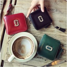 Wholesale Leather Word Bracelets - 2017 New Purse Girl Short Style of European and American Fashion Accurate Seven-Word Zipper Bracelet With Bright Leather Wallet
