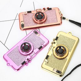 Cámaras coreanas online-Coreano 3D Retro Camera Phone TPU Fundas para iphone 7 6 6S Plus carcasa de lujo de galvanoplastia cubierta suave soporte titular espejo con cordón US1