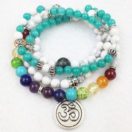 Wholesale Green Howlite Turquoise Beads - Balance and Focus 108 Mala beads, mala necklace, mala wrap bracelet,yapa mala, OM yoga gemstone mala,7 chakra,aventurine howlite tourmaline