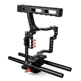 Wholesale Dslr Camera Cage Rig - CS-V5 DSLR Rod Rig Camera Video Cage Kit & Handle Grip for Sony A6300 A7 II A7r A7s Olympus Pentax Cameras+Cage