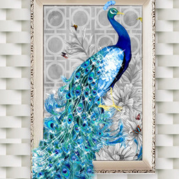 Картины павлина онлайн-5D Алмазная вышивка Картины Горный хрусталь Вставка Diy Diamond Painting Cross Stitch Animal Peacock Diamond Mosaic Room Decor
