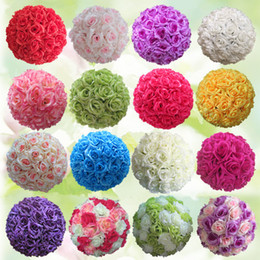 Wholesale Mint Wedding Decorations - 10Inch (25Cm ) Hanging Decorative Flower Ball Centerpieces Silk Rose Wedding Kissing Balls Pomanders Mint Wedding Decoration Ball