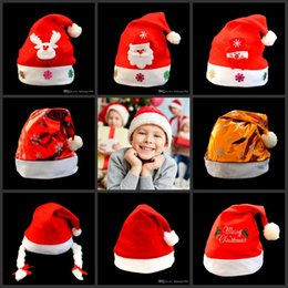 Wholesale cute adult socks - Santa Claus Hat Cute Gifts Adult Children Cosplay Super Soft High Grade Short Plush Hats Christmas Decoration 4 8qy F R