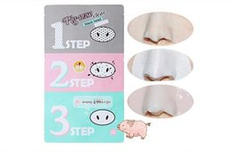Wholesale Steps Facial Treatment - Holika Pig Nose Clear Remove Black Heads 3-Step Kit Pig Nose Removal Facial Mask Peeling Acne Face Care Pore Cleanser Shrinking Pores