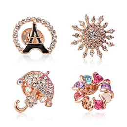 Wholesale Rhinestone Umbrellas - Christmas Gifts Brooches Rhinestone Crystal Brooches Jeweled Brooches Multicolor Umbrella Brooch 2016 New Style Brooches for Women