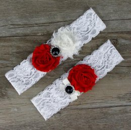 Wholesale sheer ribbon wholesale - 2016 Sexy Bridal Garters White Red Sheer Ribbon Rhinestones Lace 44*38cm Garters for Wedding Bride 4