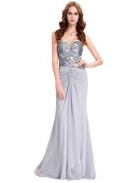 2019 más nuevos vestidos de fiesta largos grises baratos vestido de lentejuelas elegante gasa sin mangas vestido de fiesta celebridad túnica árabe sirena vestidos de baile desde fabricantes