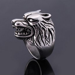 Wholesale Steel Wolf Ring - Wholesale-2016 hot new arrival vintage ring Jewelry Super animal Wolf Rings Stainless Steel Punk Biker men's Ring jewelry