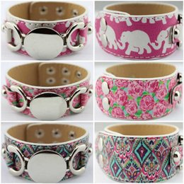 Wholesale Leather Wrap Bracelets For Women - Blank Monogram Pattern Leather Cuff Bracelet for Women Men Personalized DIY Lilly Pulitzer Monogram Blank Leather Wrap Bracelet Bangle