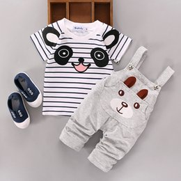 Wholesale White Overalls Baby Boy - Wholesale- Baby Clothing sets summer Suit Toddler Boys Girls Sport set cartoon Sets Bear tracksuit overall pants 2016 new outfit for infant