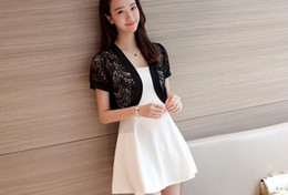 Wholesale Lace Cardigan Short Sleeve - Wholesale-2016 new arrival summer knnited short sweater air condition short sleeve solid white and black cardigans with lace