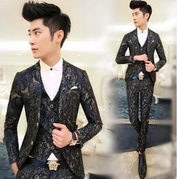 Wholesale New Neck Design For Man - New Fashion Party Asian Mens Floral Blazer Suit Jacket Slim Fit Suits For Men Blazer Designs,Navy Red,M-XXL,Free Shipping