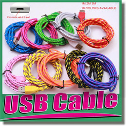 Wholesale Iphone Charger 1m - A+++ Quality 1M 2M 3M 3 FT 6FT 9FT Durable Fabric Fiber Braided Micro USB Cable Sync Data Cord Charger for Samsung Galaxy S3 S4 Note 2 OM-E3