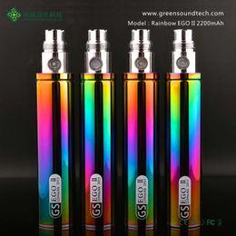 bateria de mod do arco-íris Desconto 100% Original Greensound GS EGO 2 II Rainbow Color 2200 mAh Bateria E-Cigarro Para EGO II Baterias Mods de Alta qualidade