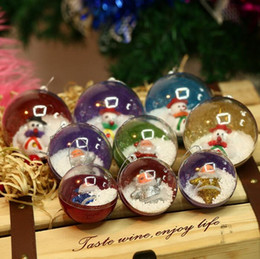 Wholesale Plastic Ornament Balls - Christmas Balls Party Decorations Christmas Tree Pendant Decoration Child Toys Plastic Transparent Christmas Ball Gifts KKA3480