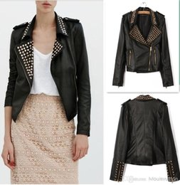 Wholesale Leather Jacket Women Punk Rock - Female Punk Rock Notched Lapel 3D Spikes rivet PU leather motorcycle jacket jacket fashion street outerwear S~L Free Shipping