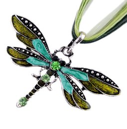 Wholesale Silver Dragonfly Necklace Pendants - Fashion Necklaces For Women Collar 2015 Summer Jewelry Gold Dragonfly Necklace Charms Animal Alloy Rope Fine Jewelry