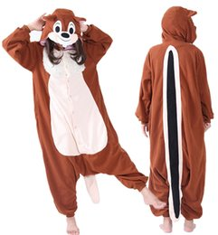 Wholesale Adult Squirrel - SS Easter Anime Lovely Brown Long Tail Squirrel Cosplay Onesie Adult Unisex Jumpsuit Pajamas Halloween Christmas Party Costumes