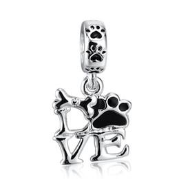 Wholesale Letter Beads Pendants - Wholesale Fashion Beautiful LOVE Pendant Charm 925 Sterling Silver European Charm Beads Fit Pandora Bracelets Snake Chain DIY Jewelry