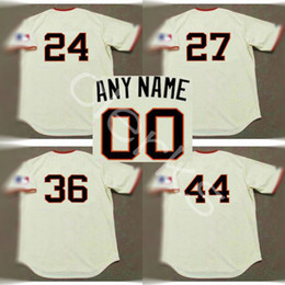 Wholesale 1969 Baseball - Customized 1969 San Francisco 24 Willie Mays 27 Juan Marichal 36 Gaylord Perry 44 Willie Mccovey Throwback Home Baseball Jerseys