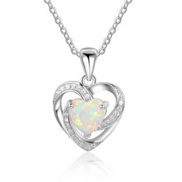 Wholesale Opal Sterling - 5pcs A Lot Sterling Silver Necklaces For Women Heart White Opal Pendant Necklace Fashion Wedding Jewery Necklace