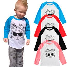 Wholesale Rabbit Tee Shirt - Spring Fall Children T-shirts Tops Girls Boys Rabbit Pattern Tees Raglan Sleeve Shirts Pre School Cotton Long Clothes T-shirts Tees For 1-5T