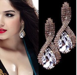 Wholesale Diamond Stud Drop - 18K Gold Tear Charming Gold Plating Alloy Big Crystal Rhinestone Ear Drop Earrings Gift For Women Girls Jewelry