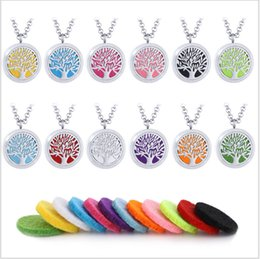 Wholesale Titanium Stainless Pendant - Hope tree hollowed-out perfume perfumed necklace perfume oil diffuser stainless steel aromatherapy pendant chain