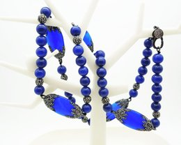 Wholesale natural blue sapphire beads - Wholesale 2PCS Natural Agate Necklace,Diamond Sapphire Men and Women Necklace,Crystal Rhinestone String Necklace,Handmade Blue Turkey Beads