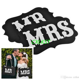 Wholesale Good Quality Chairs - Mr and Mrs photo booth props, 2 pcs chair signs, wedding decorations Good Quality Brand New