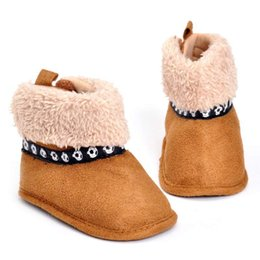 Wholesale Infant Velvet Shoes - Retail 2016 Winter Warm Newborn Baby Fashion Football Cotton Shoes With Velvet Infant Boy Girl Anti-Slippery Toddler Baby Shoe Free Shipping
