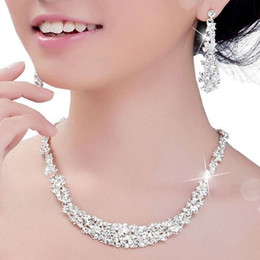 Wholesale Silver Diamond Necklaces For Women - 2016 Crystal Bridal Jewelry Set silver plated necklace diamond earrings Wedding jewelry sets for bride Bridesmaids women Bridal Accessories