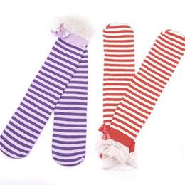 Wholesale Beauty Girls Leggings - Wholesale-12pairs lot New baby girls beauty socks striped lace leg warmer free shipping