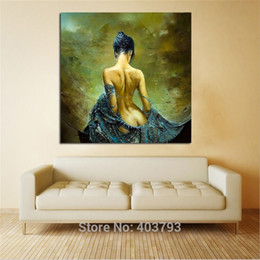Wholesale Nude Girl Paintings - Printed Sexy Lady Angel Naked Body Girl Oil Painting on Canvas Wall Art Pictures for Living Room Home or Salon Decoration Gift