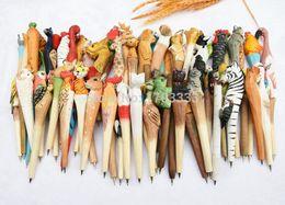 Wholesale Handmade Sculptures - 1000pcs Wooden animal carving creative ballpoint pen Chinese Zodiac wood pens handmade sculpture free shipping
