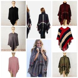 Wholesale Girls Poncho Sweaters - Plaid Poncho Grid Shawl Cardigan Tassel Wraps Women Cloak Coats Sweater Knit Scarves Tartan Winter Cape Blankets 32 Styles OOA3270