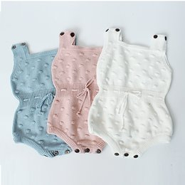 Wholesale White Baby Rompers Wholesale - Boutique Baby clothing Knit Romper Jumpsuit Balls Jacquard Strap button Rompers for Baby girl 2017 Ins Hotsale Pink blue white 0-18M BABY
