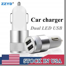 Wholesale Adapter Usb Tablet - ZZYD Metal Car charger Aluminium Alloy 2.1 A Dual USB port High quality charging Adapter For Tablet Samsung Galaxy S8 mobile phone