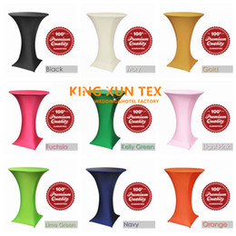 Wholesale Spandex White Table Covers - Four Pocket Lycra Spandex Cocktail Table Cover Table Cloth For Wedding And Event Party Decoration Free Shipping