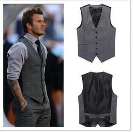 Wholesale Mens Grey Pinstripe Suit - Custom Made 2016 Mens Wedding Vest Hot Sale Good Design Grey Groom Groomsmen Vest Casual Slim Men's Vest ( Vest+Tie)