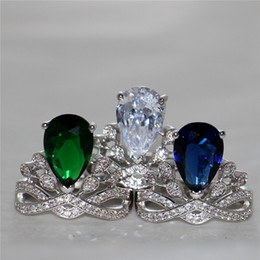 Wholesale Emerald Drops - Women's Fashion 10KT White Gold Filled Jewelry Delicate Pear-Shaped Emerald Blue white Water-Drop CZ gemstone ring wedding Bride ring finger