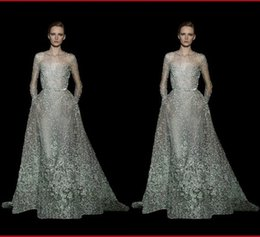 Wholesale Silver Sexy Model - 2016 Elie Saab Romantic Lace Evening Dress Jewel Neck Long Sleeves A Line Floor Length Beaded Appliqued Sheer Prom Dress Red Carpet Gown