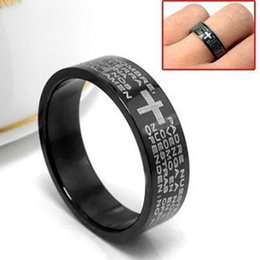 Wholesale Stainless Steel Small Crosses - Jesus Cross Bible text index finger tail ring ring men do not fade titanium steel casting models small jewelry fashion boutique